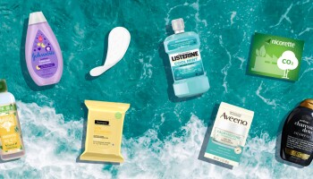 An infographic of Johnson & Johnson sustainable products over a photo of waves crashing