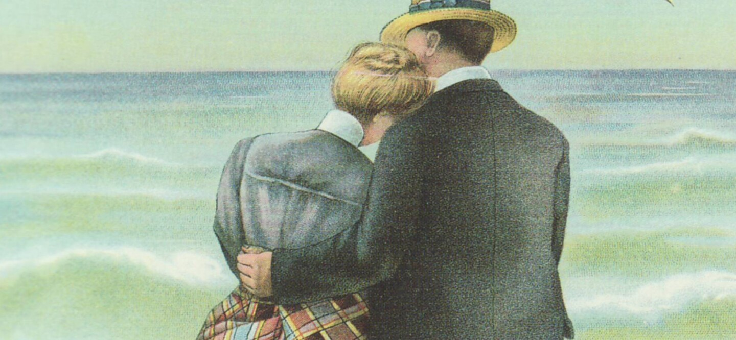 Image of a Couple Sitting on the Ocean's Edge From the 1889 Red Cross® Kidney Plasters Ad from Johnson & Johnson