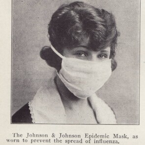 Newspaper Image of The Johnson & Johnson Epidemic Mask, Which Was Worn to Prevent the Spread of the Flu