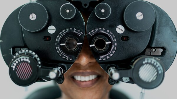 Person undergoing an eye exam