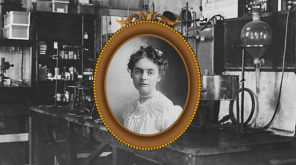 Edith Von Kuster (image courtesy of her family); Johnson & Johnson lab (image courtesy of Johnson & Johnson Archives)