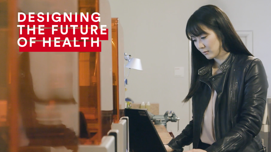 An infographic for Designing the Future of Health and featuring a woman working on a laptop