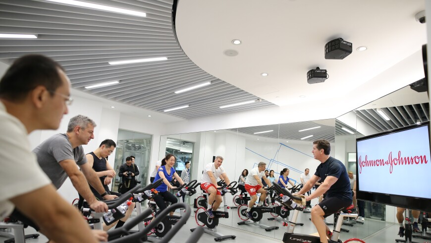 Johnson & Johnson Chairman and CEO Alex Gorsky leading a spin class at Johnson & Johnson offices in Shanghai, China