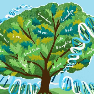A family tree graphic surrounded by DNA
