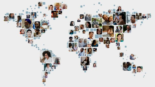 An illustration of the world featuring images of different people
