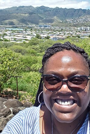 A selfie of Valarie Tucker while traveling
