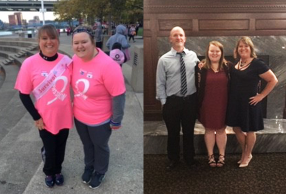 Photos of Sonya Fox and Rebecca Moore before bariatric surgery