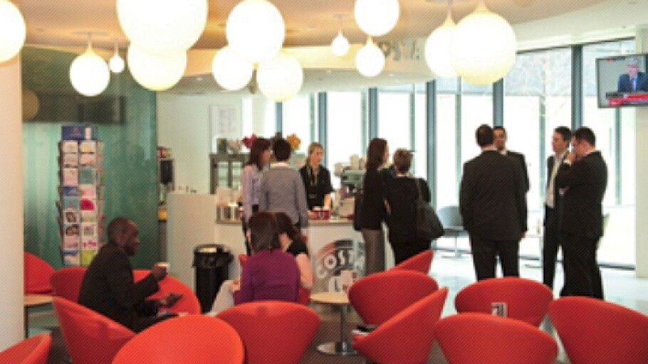 A photo of a Costa Coffee bar in a Johnson & Johnson office in the U.K.