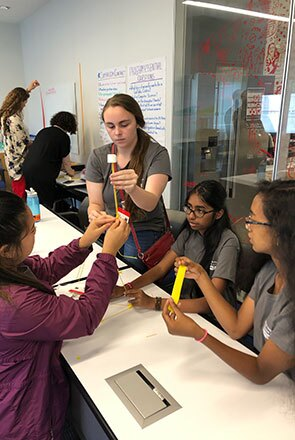 Images of students participating in the inaugural Girls Who Code Summer Immersion Program hosted by Johnson & Johnson
