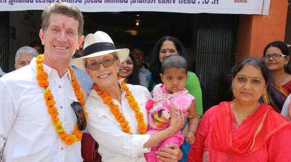 A photo of Alex Gorsky and Pat Gorksy with mMitra families in India