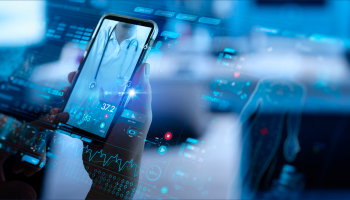 A hand holds a phone showing a doctor and numbers