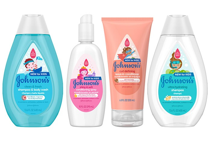 A selection of products from the Johnson's® Kids Hair Care line