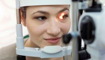 Woman undergoing an eye exam