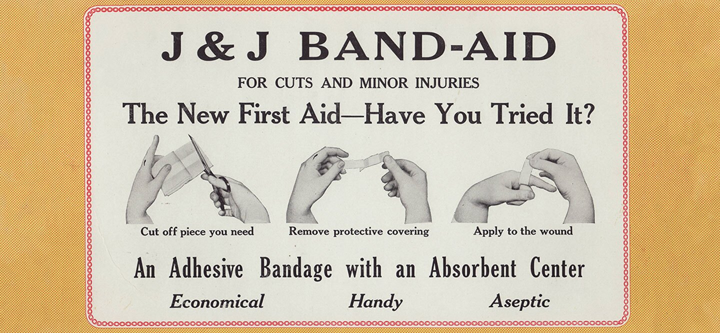 A vintage 1921 advertisement for BAND-AID® Brand adhesive bandages