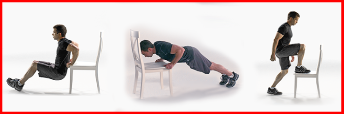Triceps Dips, Assisted Push-ups and Step-ups from The Johnson & Johnson Official 7 Minute Workout® App