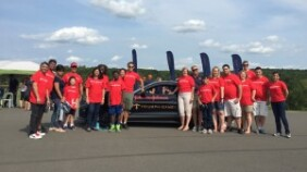 Johnson & Johnson employees cheered on Triumph Games athletes during the motorsports challenge at Wilzig Racing Manor in West Taghkanic, NY