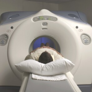 A patient undergoing a CT scan