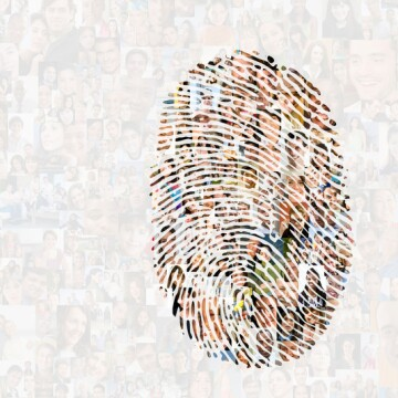 An infographic for employee resources and featuring photos of employees inside a fingerprint