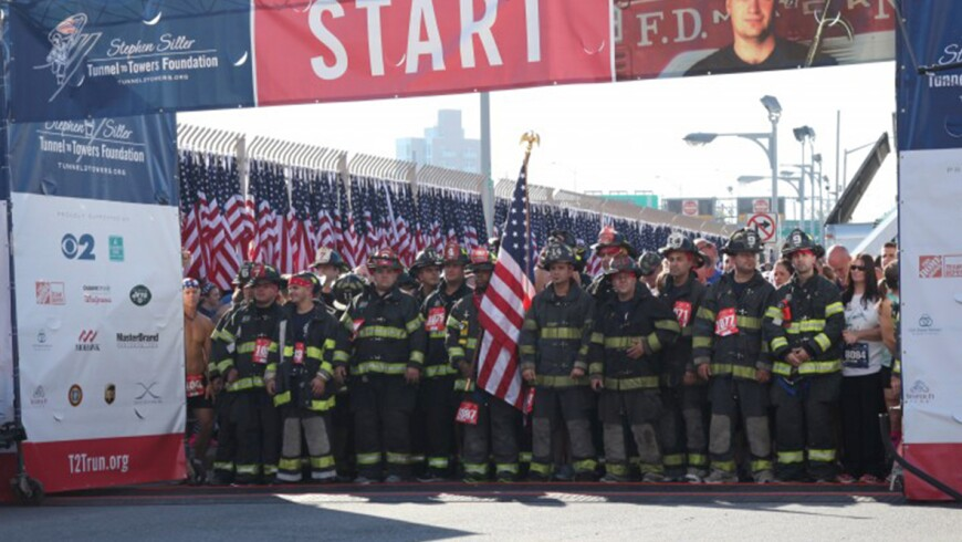 Firefighters Line Up at Start