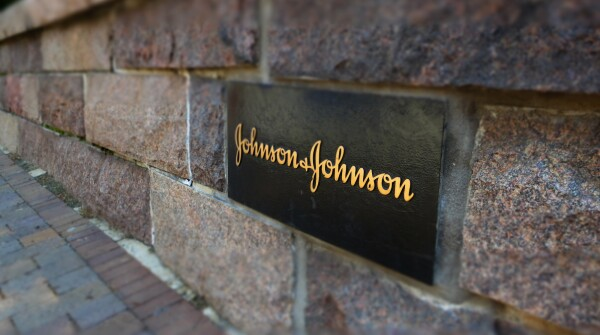 A sign at Johnson & Johnson World Headquarters in New Brunswick, NJ