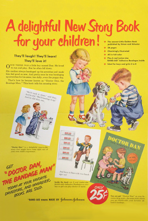Advertising poster of Doctor Dan the Bandage Man classic kids book