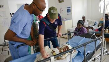 Pierre Theodore, M.D., volunteering at a hospital in Haiti