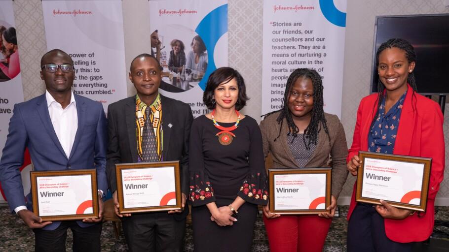Seema Kumar with Africa Storytelling Challenge winners