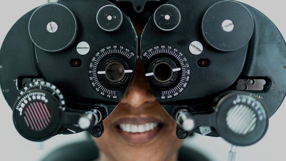 Person undergoing an eye exam