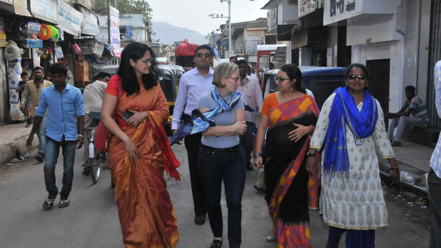 A photo of Sandi Peterson and other people in Mumbai, India