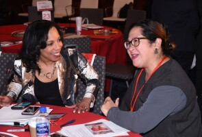 Wanda Bryant Hope with a colleague at a recent Johnson & Johnson Employee Resource Group leaders meeting