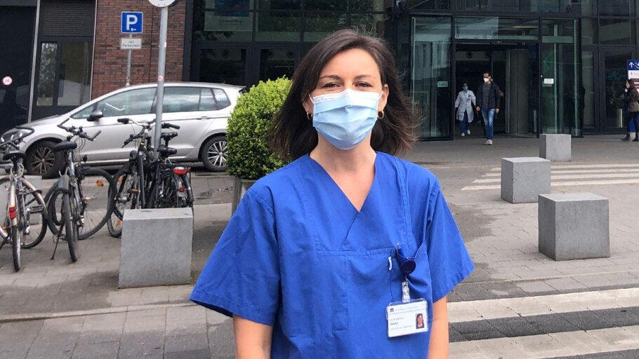 Laura Gador in PPE outside a hospital in Germany