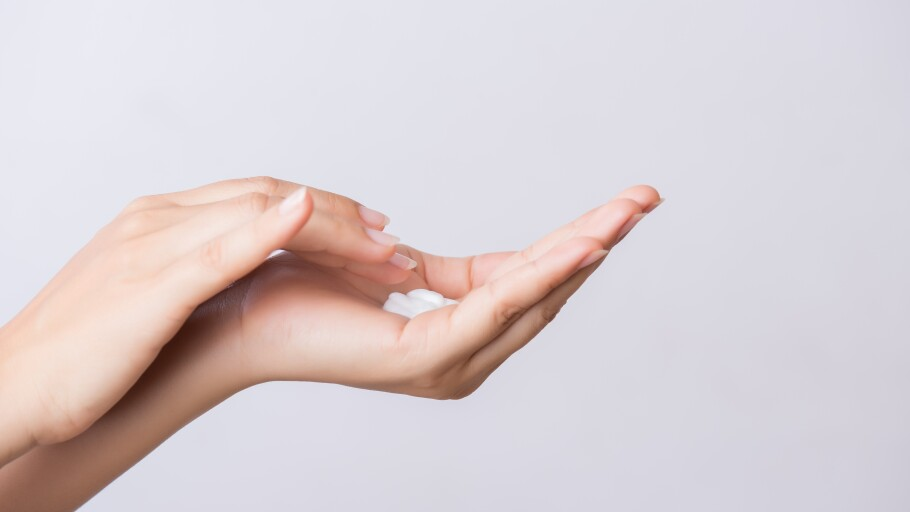 hand with lotion in it