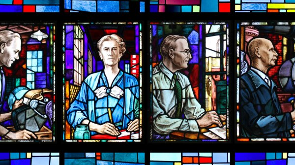 Stained glass windows portraits depicting former Johnson & Johnson employees