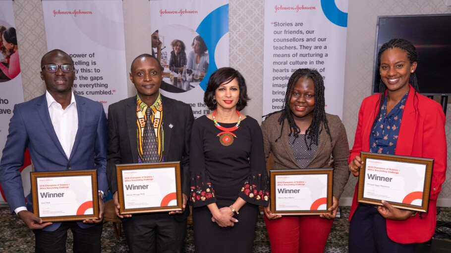 Seema Kumar with Africa Storytelling Challenge winners