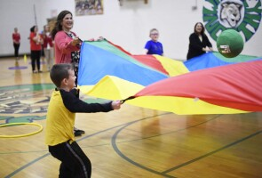 Joy Marini gets active with elementary school kids in Whitley County, Kentucky