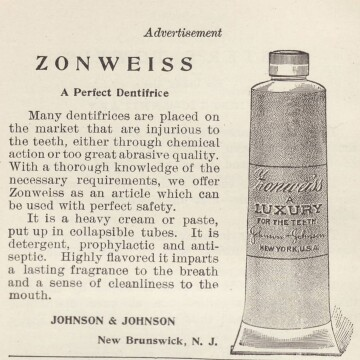 An Advertisement for Zonweiss, Johnson & Johnson's First Tubed Toothpaste