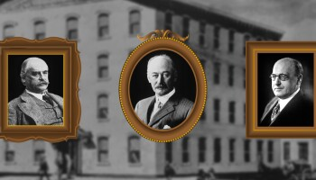 Company founders (left to right) Robert Wood Johnson, James Wood Johnson and Edward Mead Johnson on an illustrated background of Johnson & Johnson's first building in New Brunswick, New Jersey