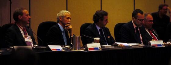 Discussing the TTIP with Senator Tim Kaine (D-VA) (right) and U.S. Ambassador to Spain James Costos (second from right)