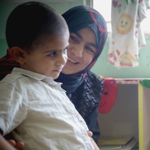 Asma and Ahmed at the Save the Children Learning Center in Mount Lebanon