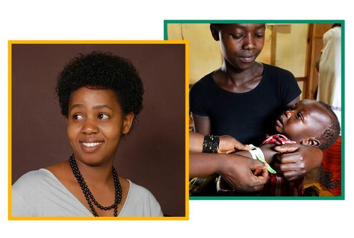Angele Ishimwe (left), a behavior change specialist at The Ihangane Project