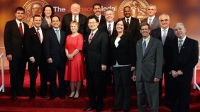 The 2014 Johnson Medal Recipients pose for a photo with Chief Scientific Officer Dr. Paul Stoffels