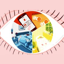 An illustration of an eye for contact lens care