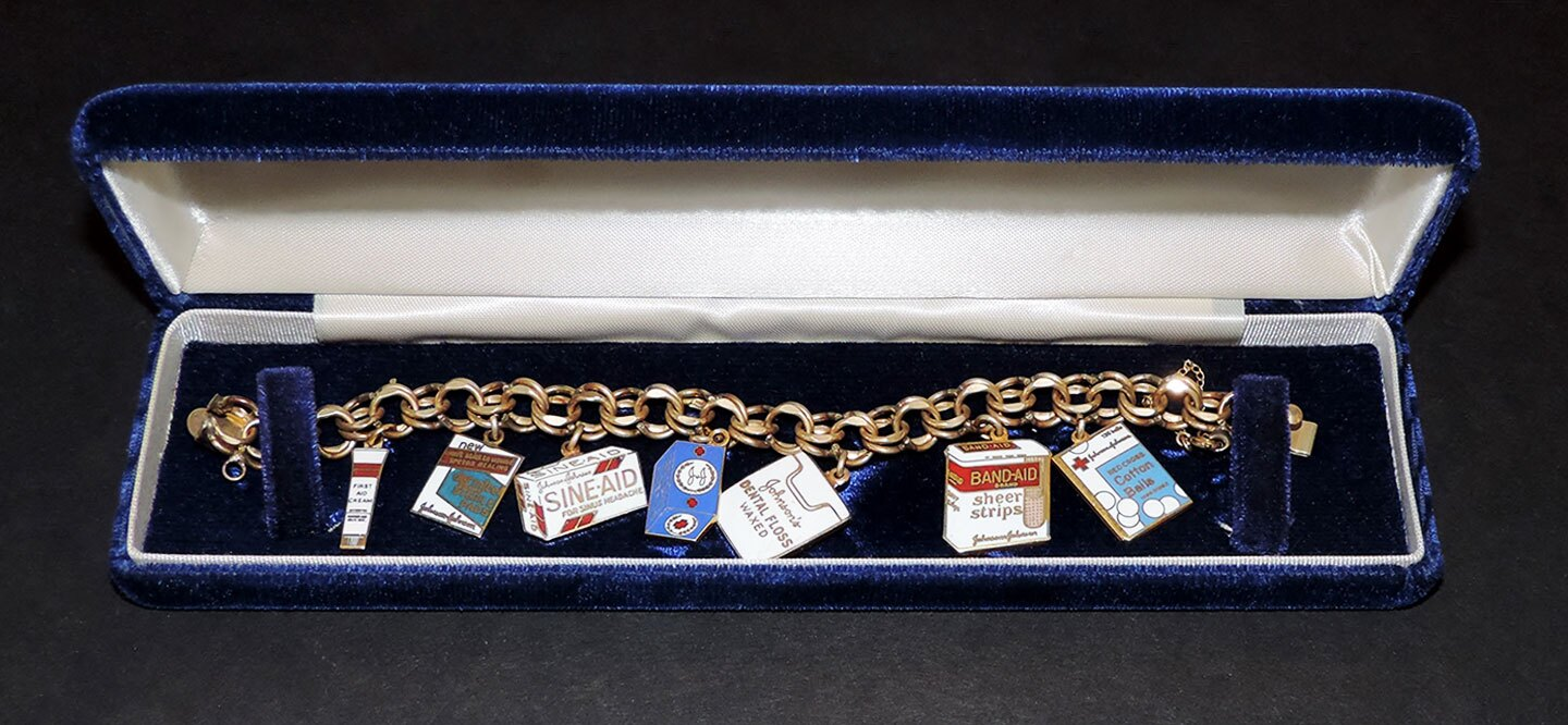 1960s charm bracelet featuring Johnson & Johnson product charms