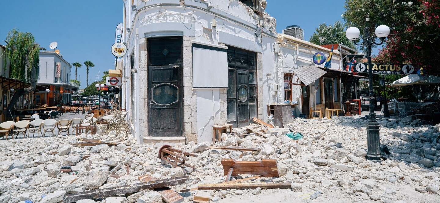 A photo of the aftermath of the 2017 Kos, Greece, earthquake