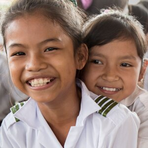 Two smiling young girls