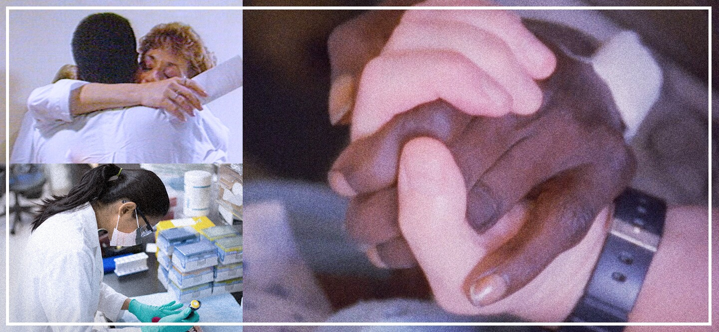 Stills of nurses and patients from the movie 5B and a researcher in the lab