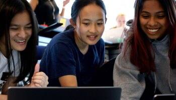 Photo of participants in the inaugural Girls Who Code Summer Immersion Program hosted b Johnson & Johnson