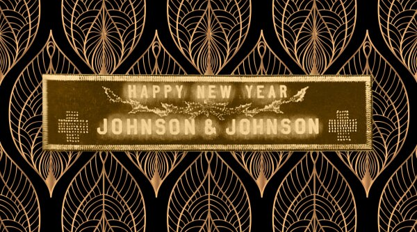 A 1915 Johnson & Johnson Happy Near Year sign.