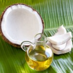 A coconut and coconut oil