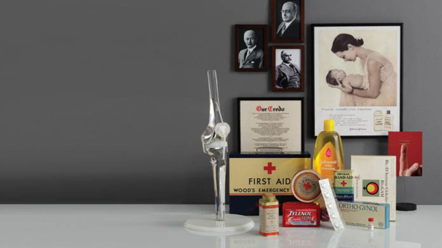 A collection of archival Johnson & Johnson products, ads and photos